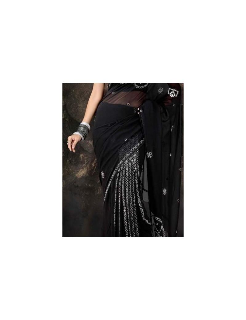 ready pleated sari noir 01