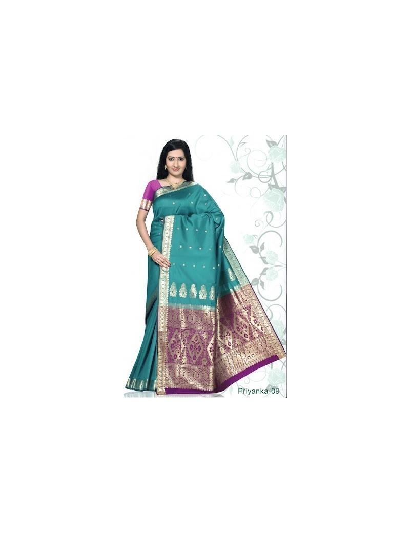 Sari traditionnel priyanka silk 09