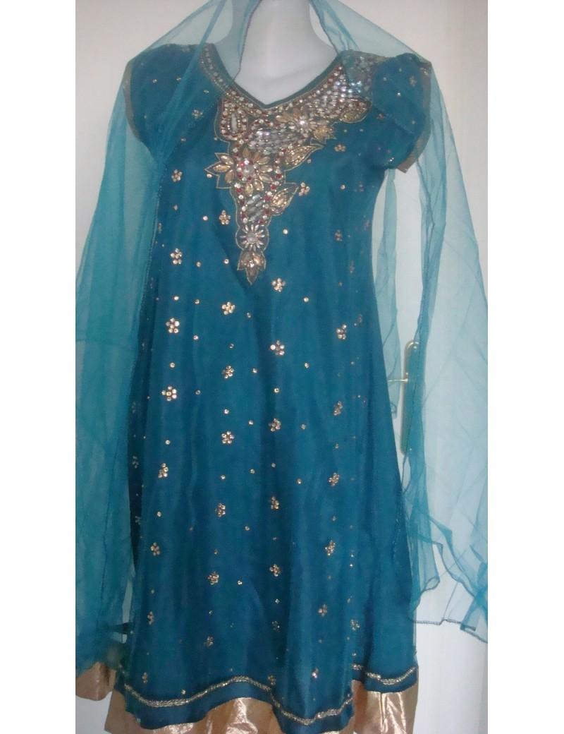 Chudidhar bleu turquoise