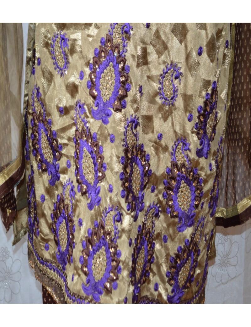 Salwar Kameez beige-marron Taille 40