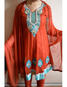 Churidhar orange - rouge brique TAILLE 36