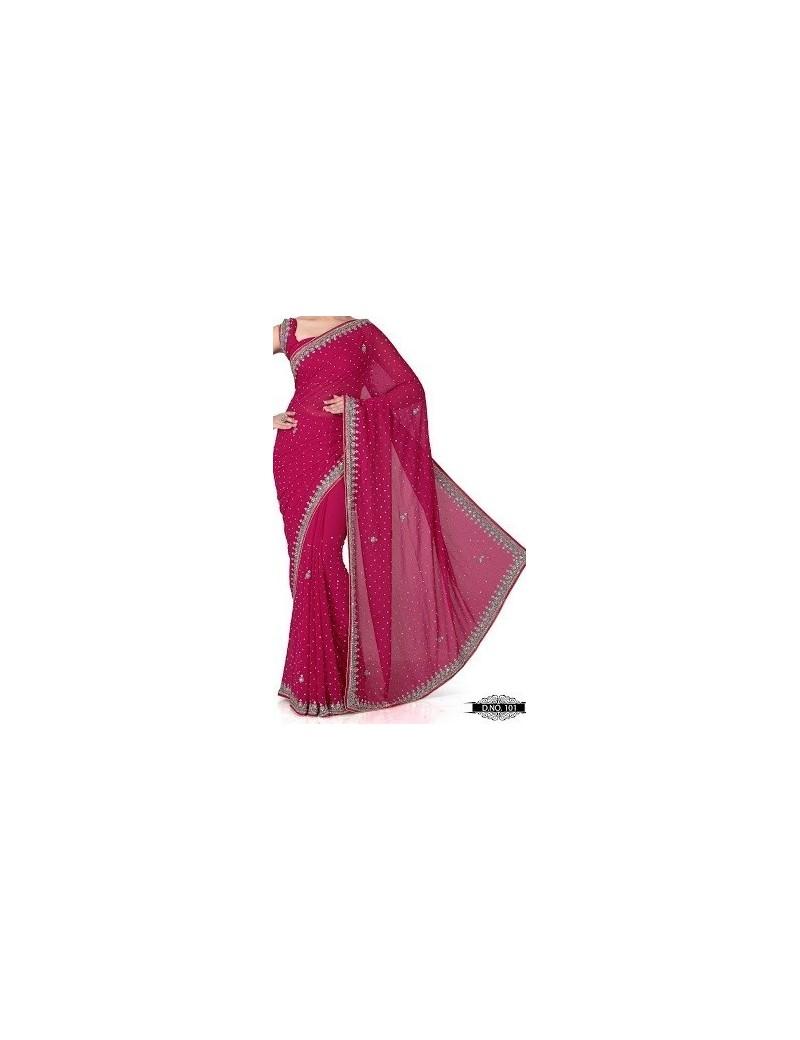 sari haut de gamme rose - 101