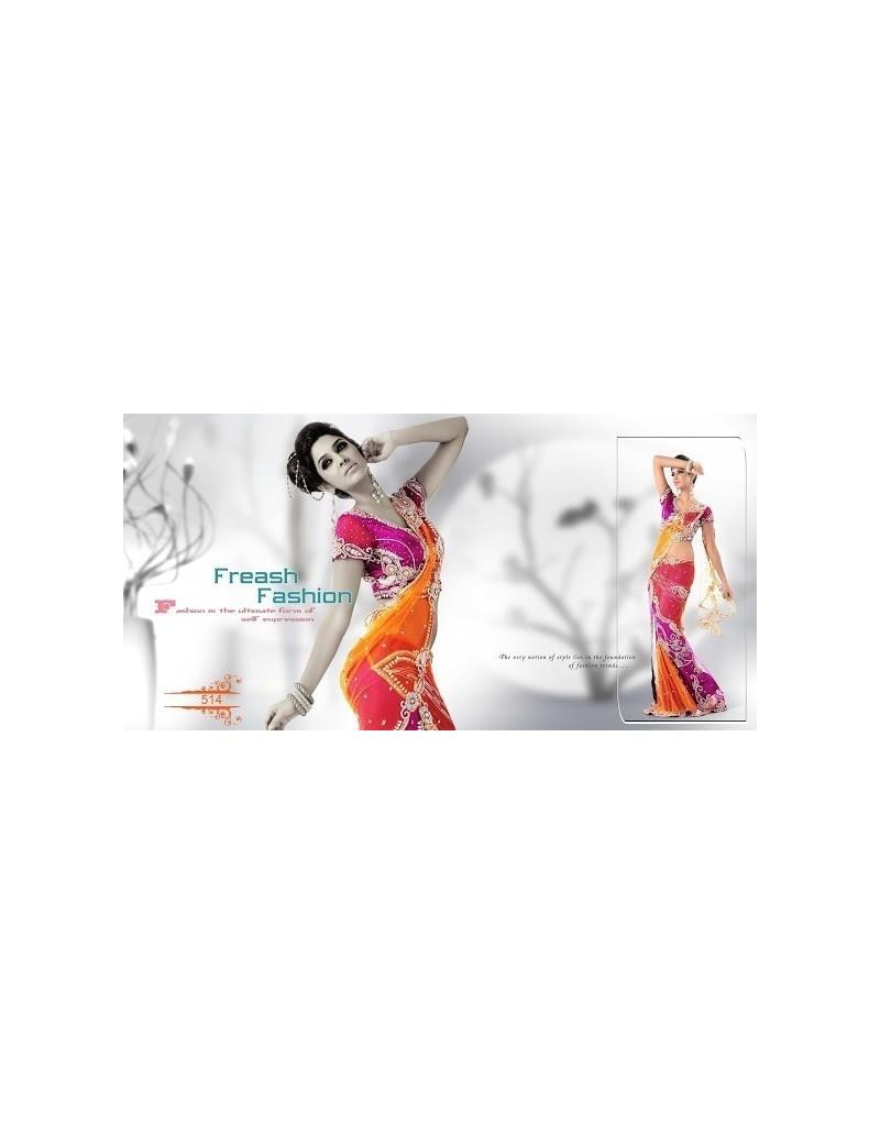 sari haut de gamme avec plis - 514