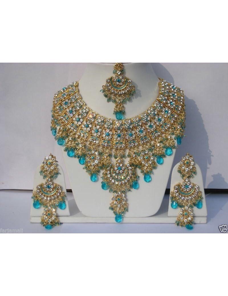 Parure indienne bollywood - jodha akbar - bleu