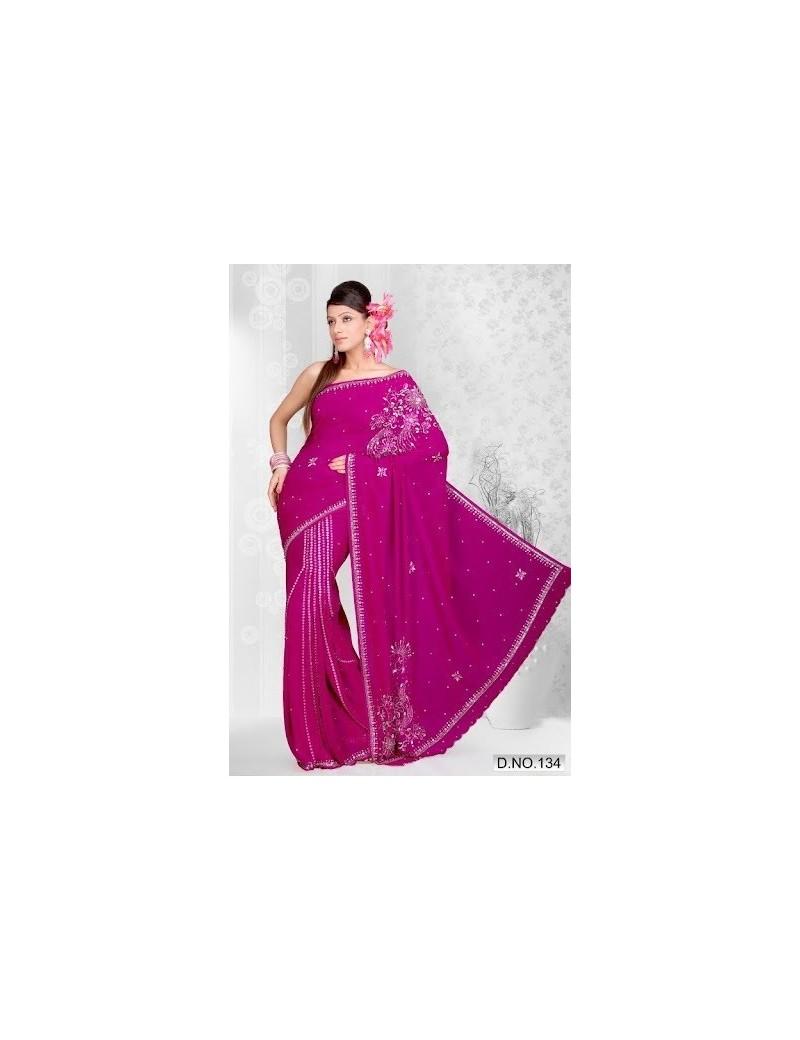 Sari rose avec plis - 134