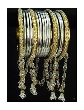 Bracelets indiens  Blanc avec perles- 36